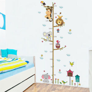 Cartoon-animals-elephant-lion-height-measure-PVC-wall-sticker-kids-room-decor