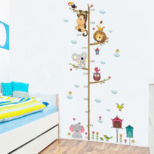 cartoon animals elephant lion height measure wall sticker for kids room decoO MB