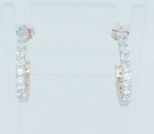 14K-Yellow-Gold-1-80ctw-G-SI1-2-Round-Cut-Natural-Diamond-Half-Hoop-J-Earrings