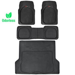 Motor-Trend-Deep-Dish-Rubber-Floor-Mats-amp-Cargo-Set-Black-Premium-4-Piece