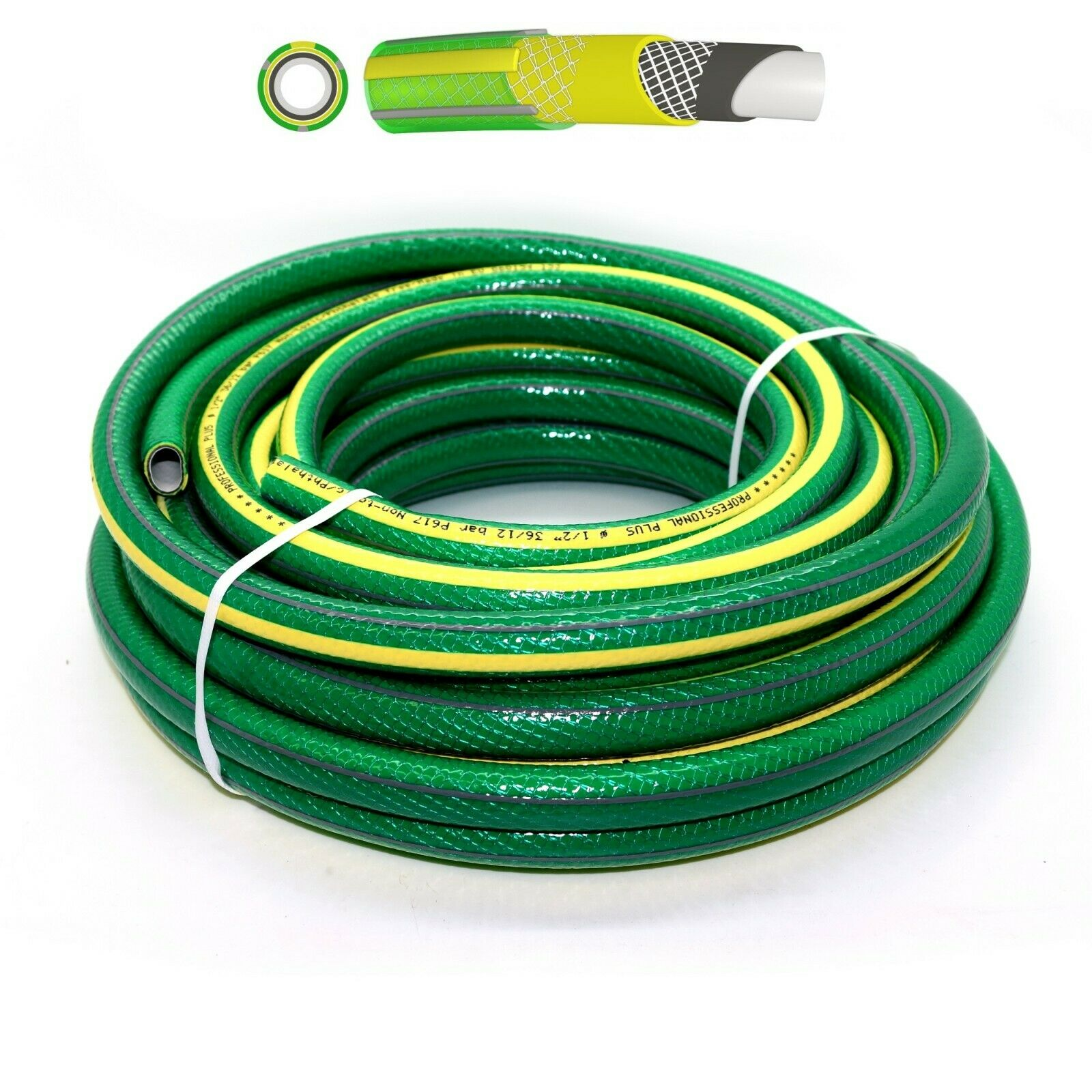 1/2-6 Layer Proffesional Garden Hose Pipe Reel Reinforced Outdoor Hosepipe Green