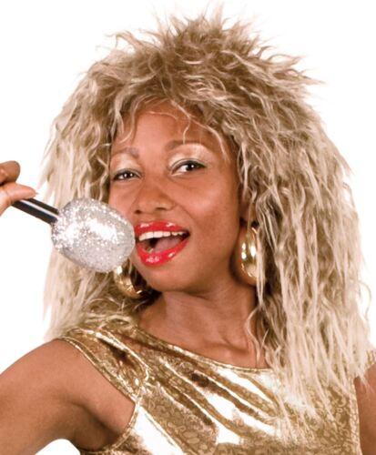 Ladies 80s Rock Queen Tina Turner Diva Blonde Crimped Wig Fancy Dress Accessory