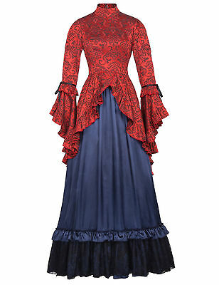 Victorian Edwardian Steampunk Party Abbey Coat Dress Punk Theatrical Costumes