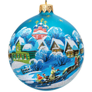 3 Glass Christmas Ball Ornament Handmade In Russia Winter Village Scene Ebay