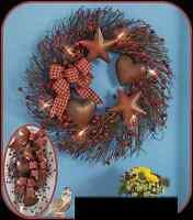 Lighted Country Wreath / Spray Wall Door Decoration Primitive Stars Hearts Decor
