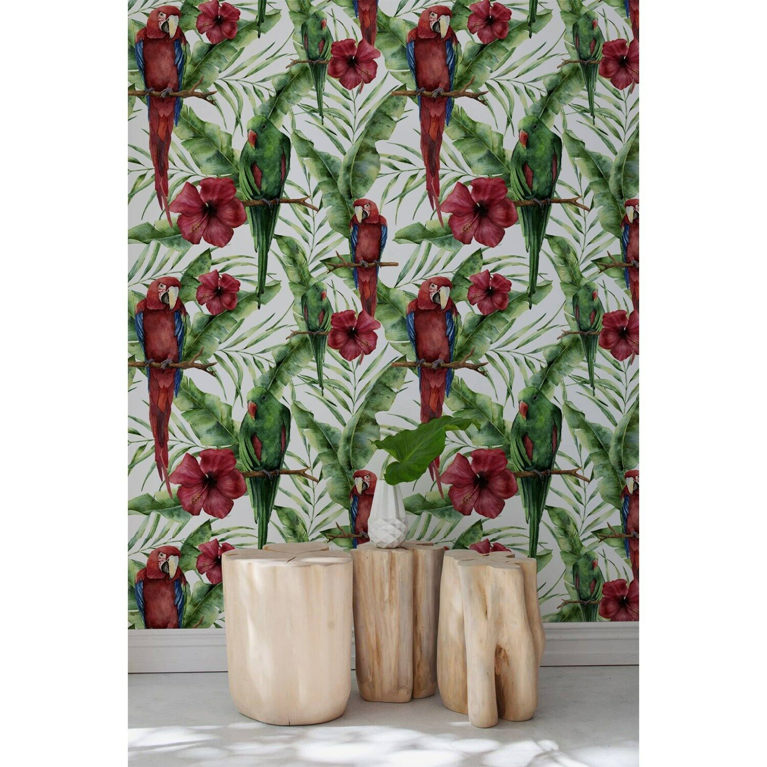 Exotic Parreds on tropical leaves Non-Woven wallpaper Traditional watercolor