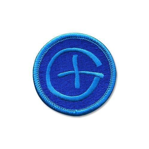 Blue Geocaching Patch Rund mit Geocaching Zeichen