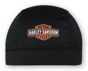 Harley-Davidson-Men-039-s-Long-Bar-amp-Shield-Skull-Cap-Black-Orange-amp-White-SK31230