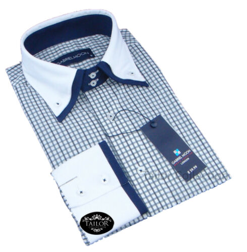 Brand New Mens Formal Casual Grey White Navy Check Double Collar Slim Fit Shirt