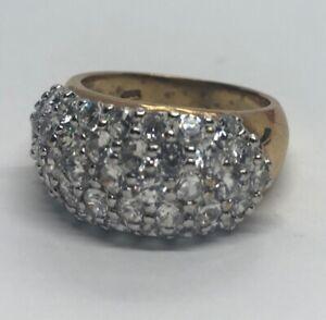 Vintage-Sterling-Silver-Ring-925-Size-7-5-HC-signed-Vermeil-CZ-Band