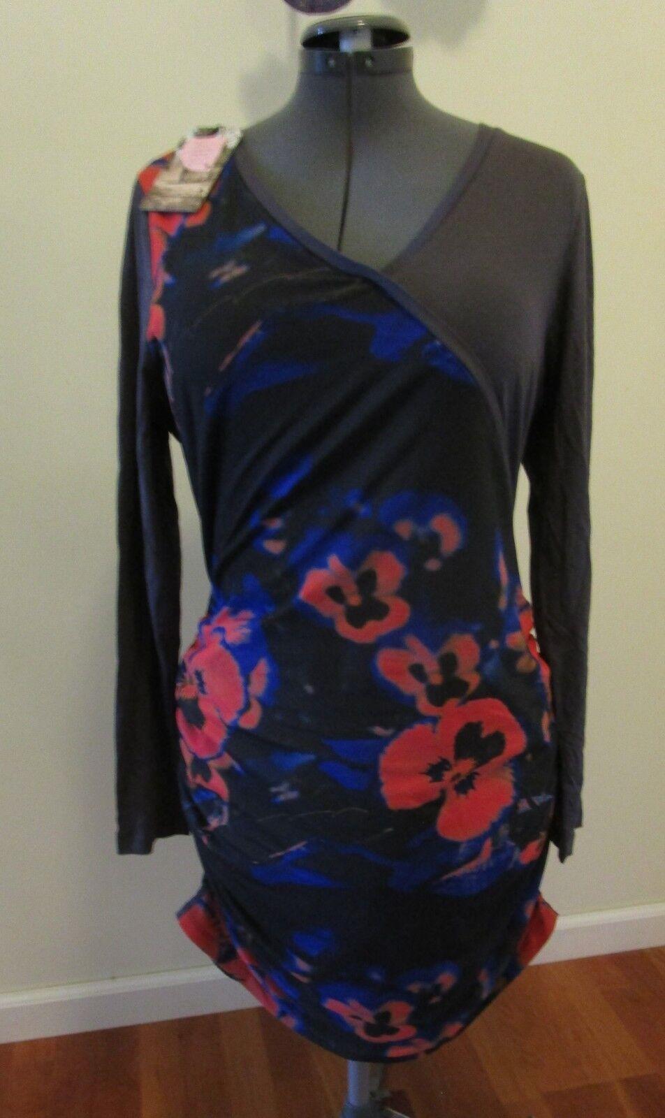 ANNA SCOTT NWT Grey orange Ruched Tunic Top Shirt Dress Womens Size Sz XL NEW
