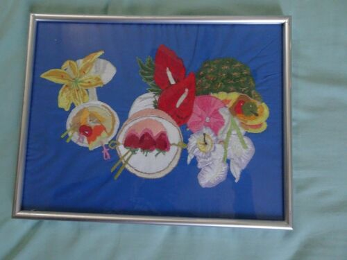 Vintage Midcentury Fabric Art Hand Embroidered Pic
