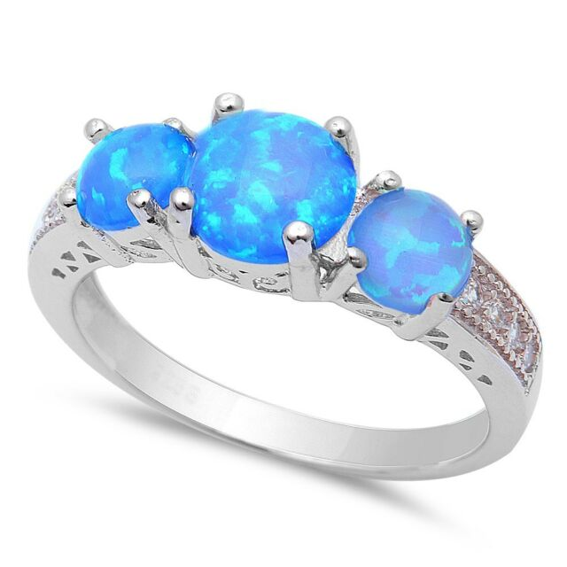 New! 3 Blue Fire Opal & Cubic Zirconia .925 Sterling Silver Ring Sizes 5-10
