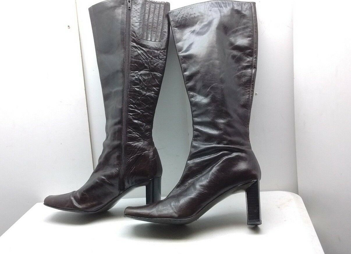 Colin Stuart Women's Brown Leather High Heels Mid Tall Boots Zip Casual shoes 8M