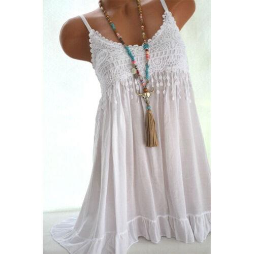Plus Size Women Summer Strappy Vest Long Tops Blouse Lace Short Mini Dress 8-22