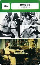 Myrna Loy (USA) période 1935-1980. Actress Card. Fiche Actrice.