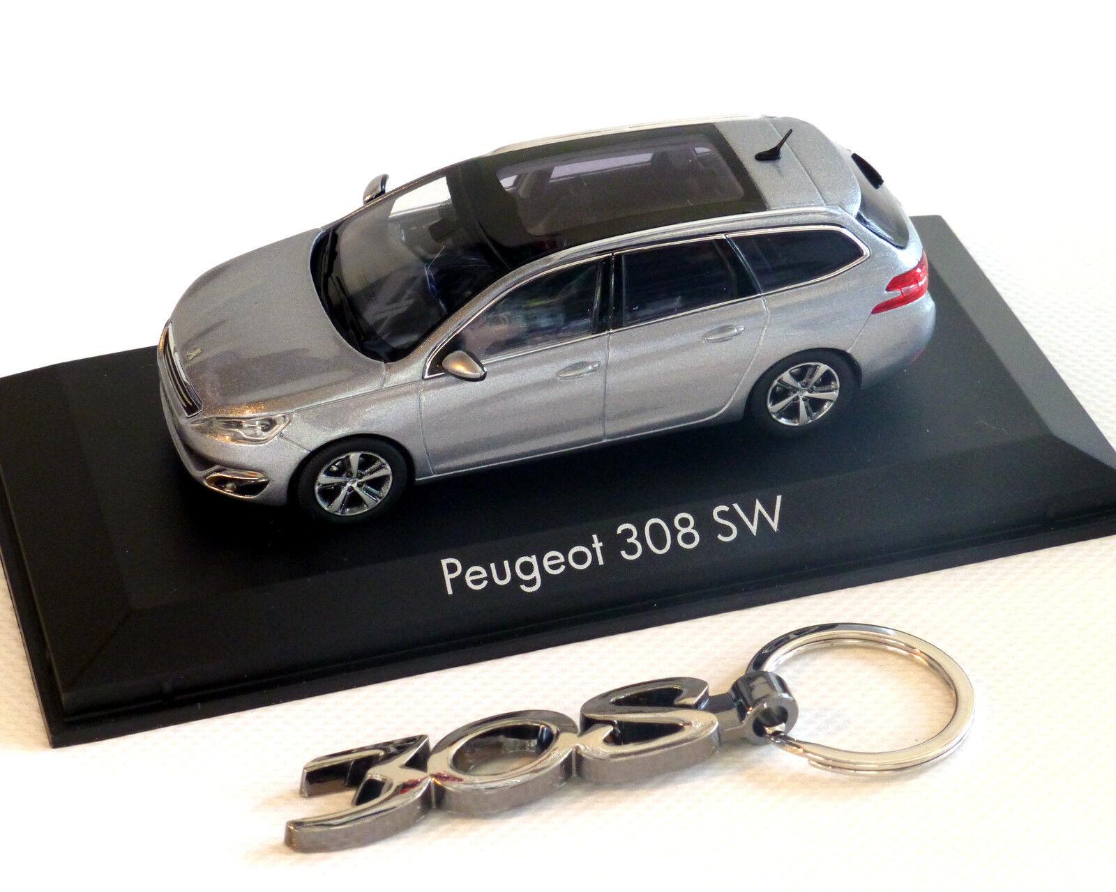Peugeot 308 sw argent métallisé, métallisé, métallisé, 1 43 et porte clé ddd574