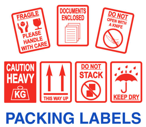 Packing Stickers Labels Fragile Heavy Keep Dry Documents Enclosed This Way Up