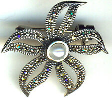925 STERLING SILVER MARCASITE & PEARL FLOWER STYLE BROOCH 30mm DIAMETER