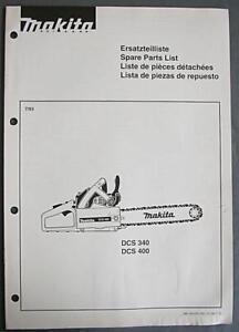 Makita Chainsaw Parts Diagram | 1993 Makita Chainsaw Illustr Parts Manual Models Dcs 340 Dcs 400