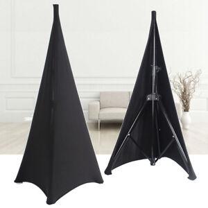 New-2X-Black-Double-Sided-Speaker-Stand-Scrims-Stretch-Lycra-DJ-Tripod-Cover