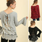 S-2X UMGEE Long Bell Sleeve Knit Top Ruffled Lace Back Boho Flowy Shirt Tunic