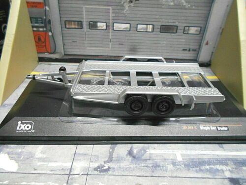 Remolque de coche remolque transportador colgadores doppelachser plata nuevo Ixo 1:43