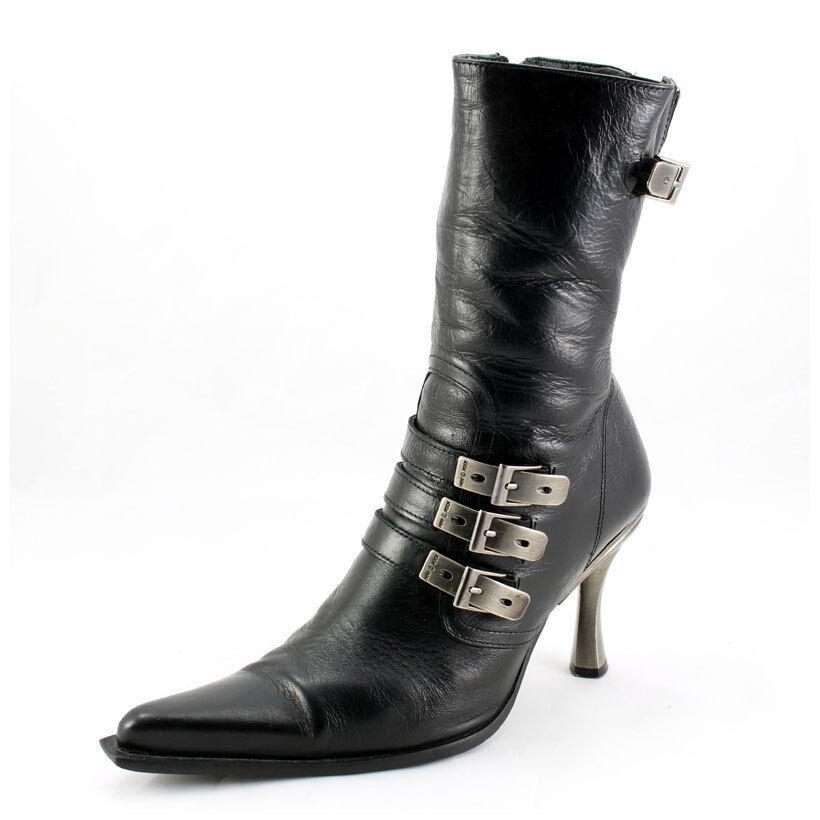 New Rock Stiefel Gr. 39 Malicia Stiefeletten schwarz mit Schnallen ( 3304)