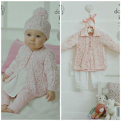King Cole DK Knitting Pattern 4315:Easy Knit Coats /& Hat