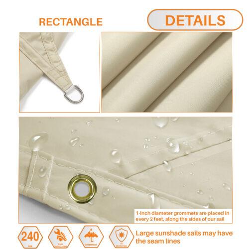 Customize Straight Edge Waterproof Sun Shade Sail UVBlocker Patio Pool Cover 12/'