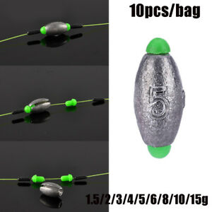 10Pcs-Lead-Weight-Fishing-Lead-Sinker-Mould-Olive-Shaped-Middle-Pass-Removable