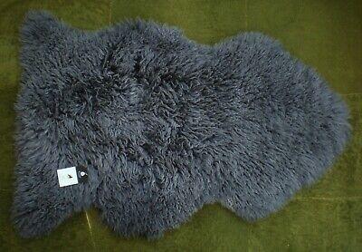 *RARE* 100/% GENUINE CURLY Sheepskin Rug BLACK CRIMPED WOOL NATURAL WAVY