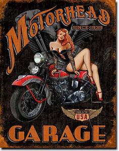 Vintagerétro Pinup Moto Voiture Ancienne Poster Déco Ateliergarage