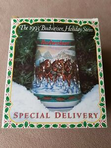 Vintage-1993-Budweiser-Holiday-Stein-Special-Delivery-MIB-COA-Beer-Clydesdales