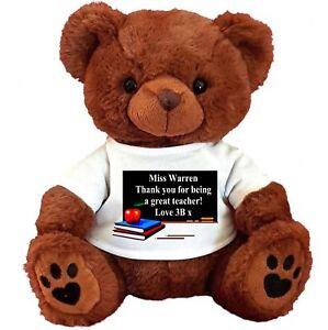 "PERSONALISED BROWN TEDDY BEAR25CM/10"" SITTING TEACHER LEAVING GIFT BOARD"