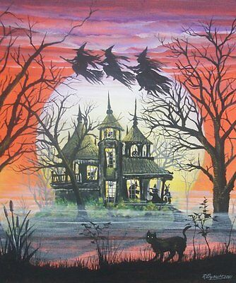 Halloween Art Witches Haunted House Children Witches Flying Cat Byrum PRINT