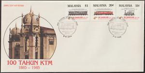 (F119)MALAYSIA 1985 100 YEARS OF KTM (RAILWAY) FDC