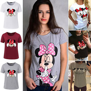 Summer-Women-039-s-Mickey-Minnie-Mouse-Short-Sleeve-T-Shirts-Loose-Casual-Tee-Tops