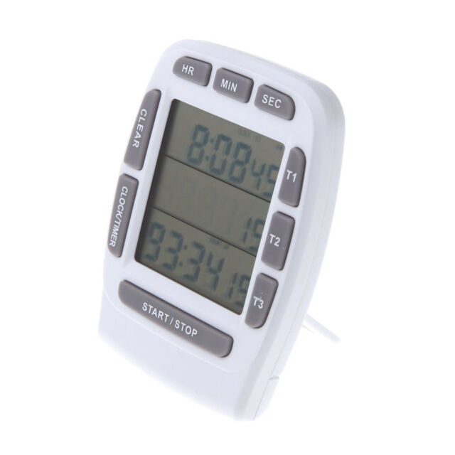 LCD Digital Alarm Timer with Triple Display 3-Line Timer Countdown Stopwatch HY