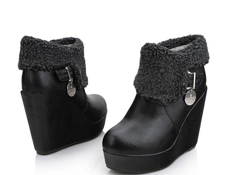 Stivaletti botas zapatos  zeppa 10 cm pelle sintetica caldi comodi moda 043