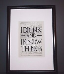 FRAMED WALL ART PRINT POSTER! GAME OF THRONES QUOTE