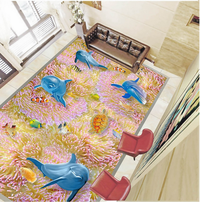 3D Cute Coral Dolphin 78 Floor WallPaper Murals Wall Print Decal AJ WALLPAPER US