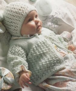 8b2e4c6f4ab1 Baby Knitting Pattern Copy Matinee Coat Bonnet Mitts 8 Ply