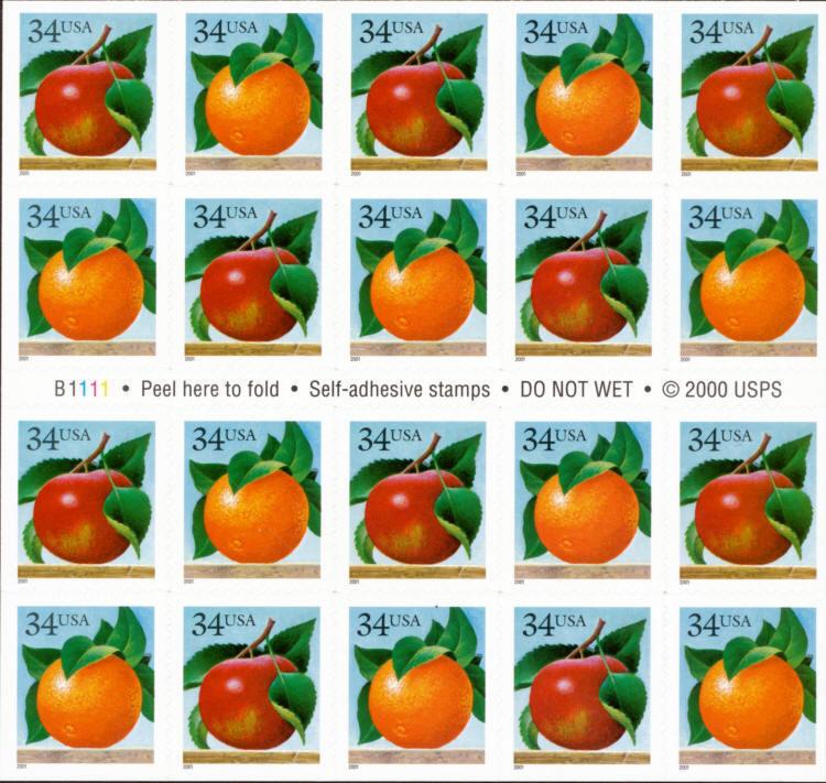 2001 34c Apple & Orange, Booklet of 20 Scott 3491-92 Mi