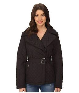DKNY-Womens-Trench-Jacket-Coat-Size-X-Small-Diamond-Quilted-Belted-Black-Siz