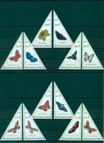 Mali Butterflies Schmetterlinge Insects Paons 12 MNH triangle stamps set