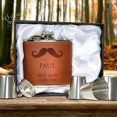 Engraved Leather ette Hip Flask Gift Set Wedding Birthday Present Groomsman AUS