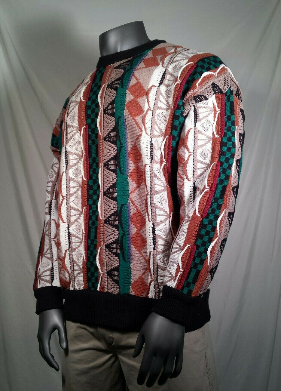Vtg Cotton Traders Sweater Cosby Abstract Textured Men's Sz XL