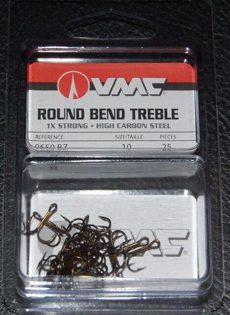 VMC 9650 Round Bend Treble Hooks Size 1//0-25 Pack 9650BZ-10 Bronze 1X Strong