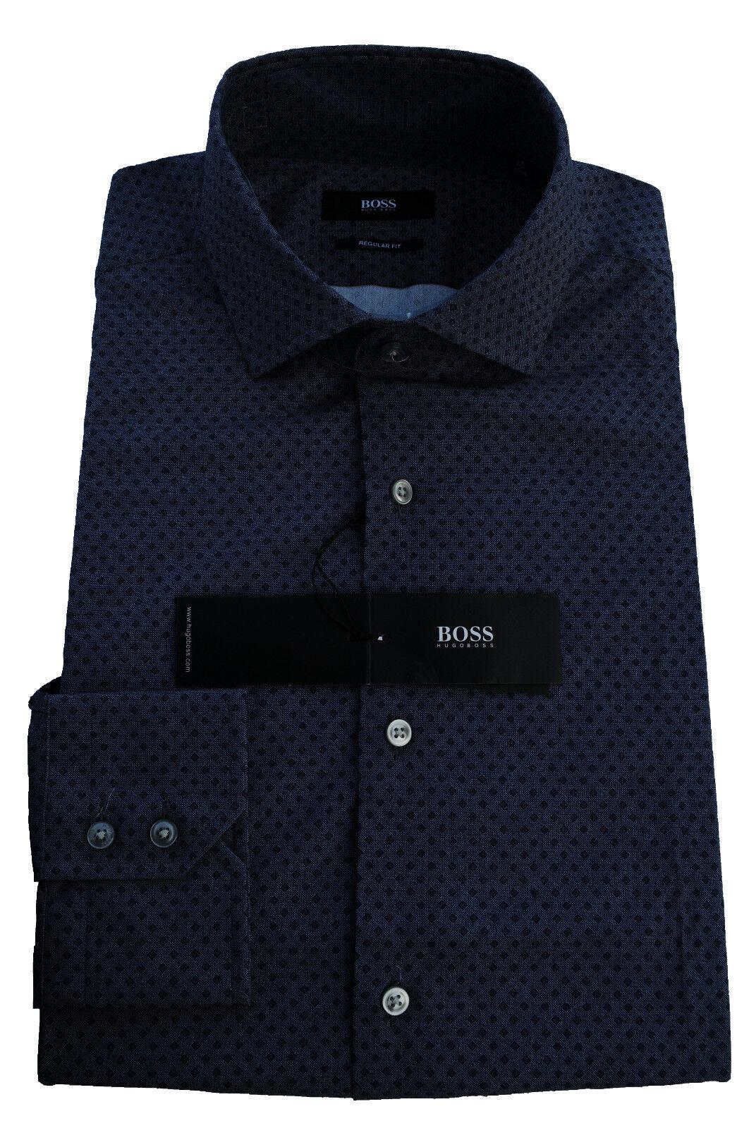 NEU gr. 40 HUGO BOSS HEMD GORDON REGULAR FIT NAVY zu Jeans 50284814